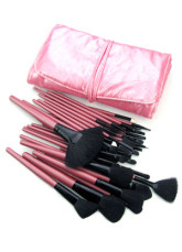 Professional 32 Pieces Makeup Brush Set With Fuchsia Case