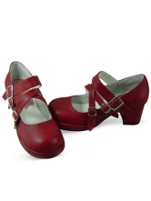 Lolitashow Red Puppy Heel PU Leather Round Toe Lolita Shoes