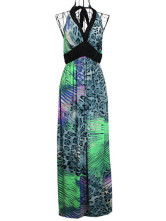 Maxi Dress animal Print Halter Viscose sans manches femmes