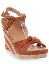 Cane Woven Pattern Twisted Womens Wedge Heel Espadrilles