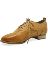 Flat Lace-Up Almond Toe Synthetic Womens Oxford Shoes