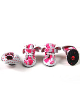 Green/Pink Floral Canvas Pet Dog Anti-Slip Shoes