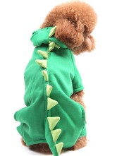 Cool Green Dinosaur Pattern Cotton Hoodie Coat For Dog