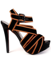 Cool Black Silk And Satin Stiletto High Heel Women's Gladiator Sandals