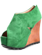 Green Criss-Cross Chain Peep Toe Womens Wedge Shoes