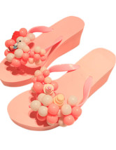 Plastic Beading Wedge Jelly Slip-Slops For Women