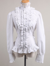 Sweet White Ruffles Long Sleeves Cotton Lolita Blouse