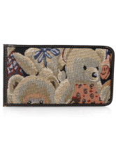 Bear Jacquard Polyester Snap Card Holder Wallet