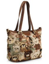 Large Bear Jacquard Zipper Polyester Shoulder Bag