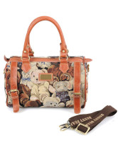 Nice Bear Jacquard Polyester Brown Tote Bag