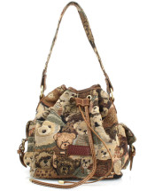 Quality Bear Jacquard Polyester Cross Body Bag
