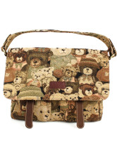 Lovely Bear Jacquard Zip Brown Polyester Satchel