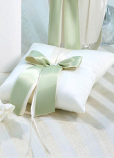 Square Glamour White Satin Sage Bow Ring Bearer Pillow