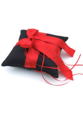 Black Satin Red Bow Ring Pillow