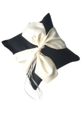 Black Square Satin White Bow Ring Pillow