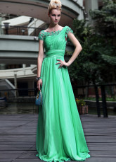Green Floor Length Draped Chiffon Evening Dress
