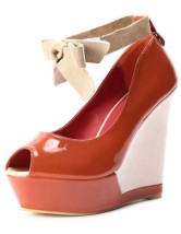 Sweet Orange Peep Toe Ankle Strap Patent Leather Womens Wedge Shoes