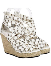 Roman Grommets White Open Toe Wedge Heel Womens Espadrilles
