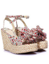 Red Open Toe Bohemian Flower Floral Canvas Womens Wedge Espadrilles