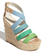 Color Block Woven Open Toe Cloth Womens Espadrilles