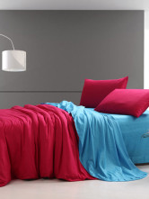 Blue Red Color Block Pattern Duvet Cover Bedding Set