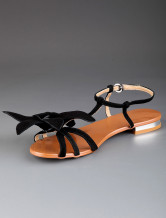 Black Casual Open Toe Fower Buckle Sheepskin Womens Beach Sandals