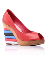 Colorful Wedge Heel Peep Toe Womens Clogs