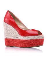 Red Peep Toe Wedge Heel Sheepskin Womens Espadrilles
