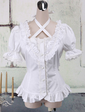 Lolitashow White Cotton Lolita Blouse Short Sleeves Neck Straps Lace Trim Ruffles