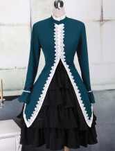 Dark Green Stand Collar Long Sleeves Cotton Lolita Gothic Dress