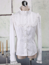 Lolitashow White Cotton Lolita Blouse Long Sleeves Lace Trim Stand Collar