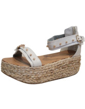 Punk Rivets Buckle Open Toe PU Womens Espadrilles
