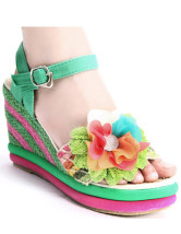 Green Flower Decoration Cane Ankle Strap Women's Espadrilles