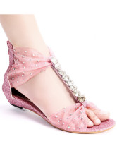 Sweet Pearl Pink Nubuck Crystal Back Zip Closure Women's Beach Sandals