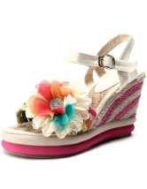 Apricot Flower Decoration Cane Ankle Strap Women's Espadrilles