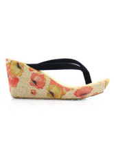 Floral Wedge Heel Thong Toe Flannel Womens Flip Flops