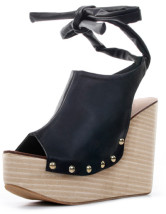 Roman Rivet Ankle Strap PU Womens Wedge Heel Sandals