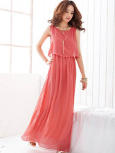 Attractive Sleeveless Chiffon Womens Maxi Dress