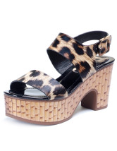 Brown Casual Leopard Print Open Toe Chunky Heel Cowhide Womens Clogs