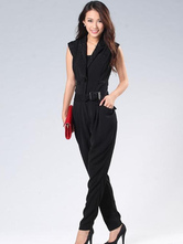 Straight Belted Sleeveless Lace Cotton Womens Jumpsuit