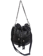 Punk Skull Head Rivet Sheepskin Womens Cross Body Bag