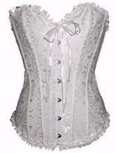 Lolitashow Floral Bow Front Button Jacquard Womens Corsets