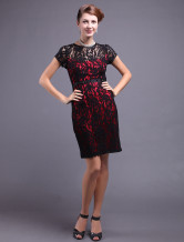 Black Lace Sheath Knee Length Mother of the Bride Dress