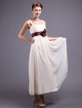 Vintage Champagne Chiffon Straps Floor Length Evening Dress