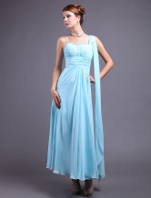 Grace Sky Blue Chiffon A-line Floor Length Evening Dress