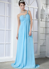 Blue Elastic Woven Satin One Shoulder Beading Evening Dress