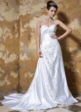 White Strapless Sweetheart Beading Satin A-line Wedding Dress