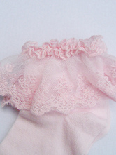 Lolitashow Pure Pink Cotton Blend Lace Trim Lolita Socks