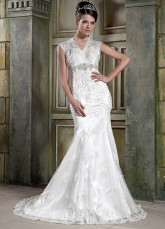 Fantastic Ivory Lace Applique Satin Mermaid Trumpet Wedding Dress