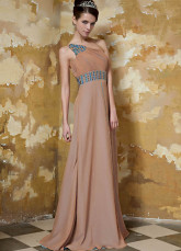 Chocolate Elastic Woven Satin Chiffon One Shoulder Evening Dress